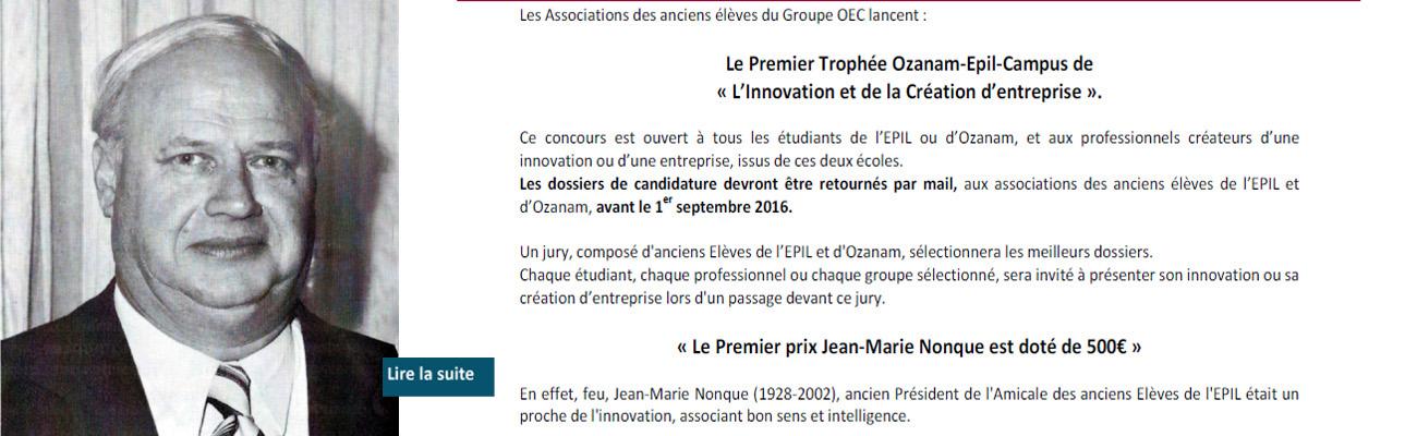 Trophée Jean-Marie NONQUE – Anciens de l'EPIL et d'Ozanam/Campus