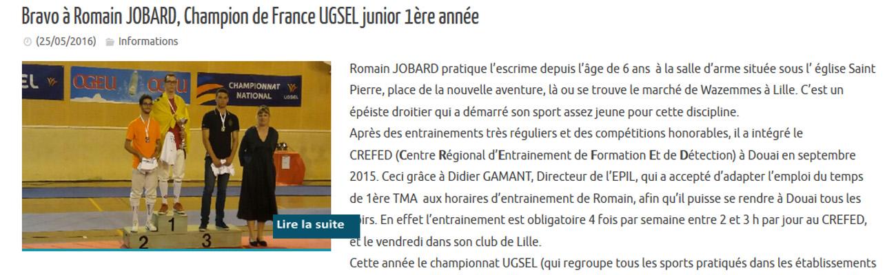 Bravo à Romain JOBARD, élève à l'EPIL, et Champion de France UGSEL junior 1ère année à l'épée