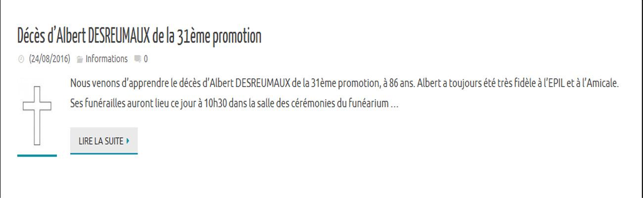 Décès d'Albert DESREUMAUX de la 31ème promotion