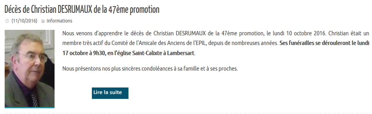 Décès de Christian DESRUMAUX de la 47ème promotion