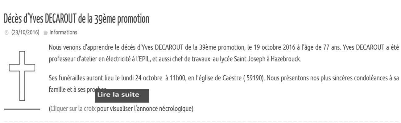 Décès d'Yves DECAROUT de la 39ème promotion
