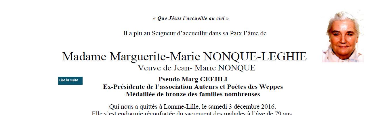 Décès de Madame Marguerite-Marie NONQUE, veuve de Jean-Marie NONQUE