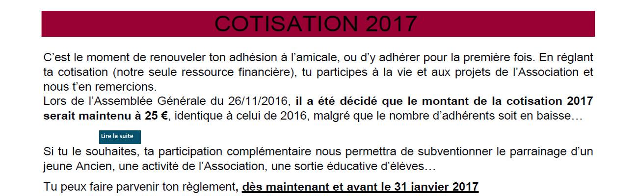 Règlement de la cotisation 2017