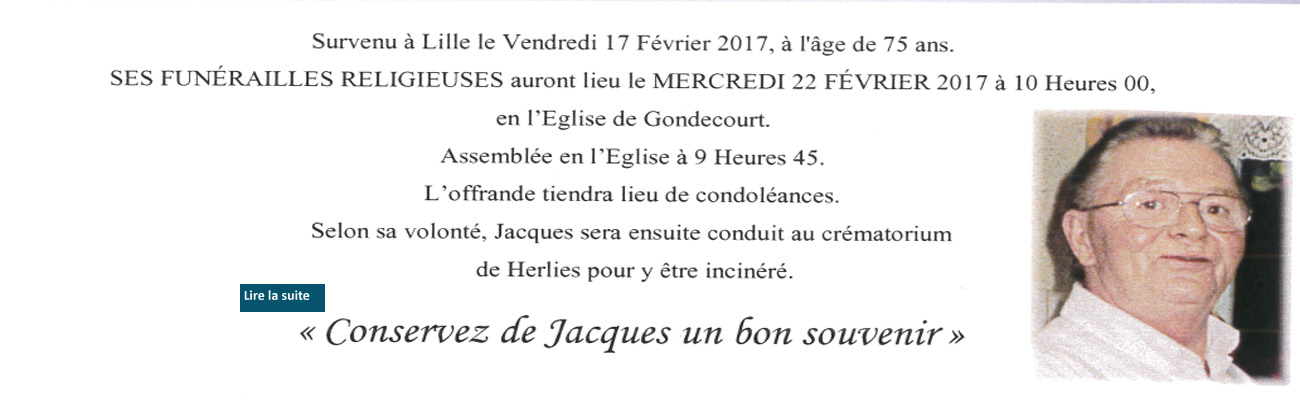 Décès de Jacques DECROOCQ ancien employé de l'EPIL, et père de Philippe NESSLANY
