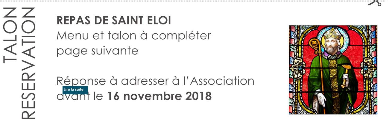 Assemblée Générale et repas de Saint Eloi le samedi 1er décembre 2018