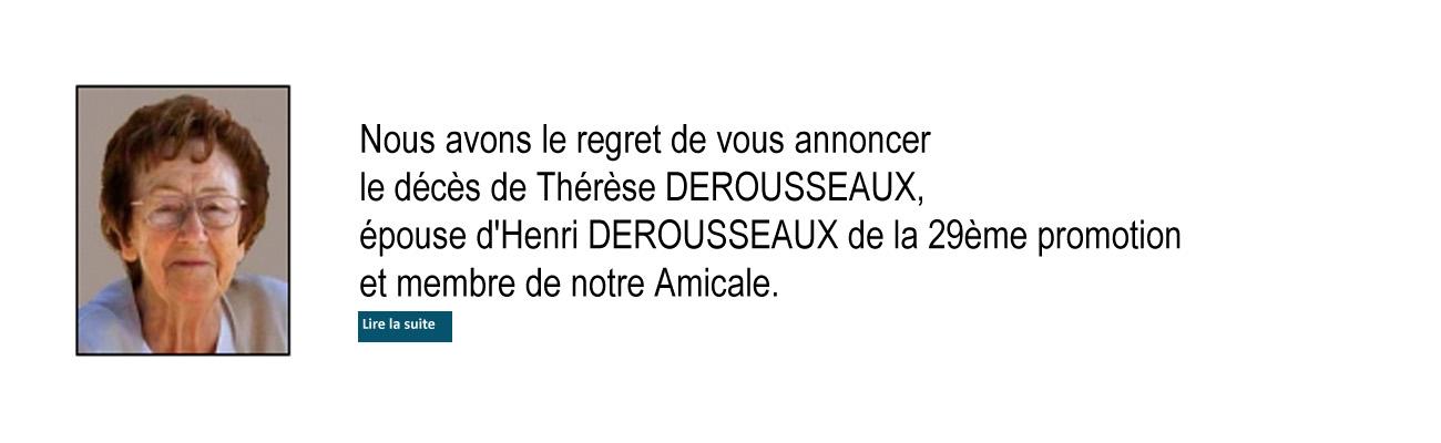 Décès de Madame Thérèse DEROUSSEAUX épouse d'Henri de la 29ème promotion