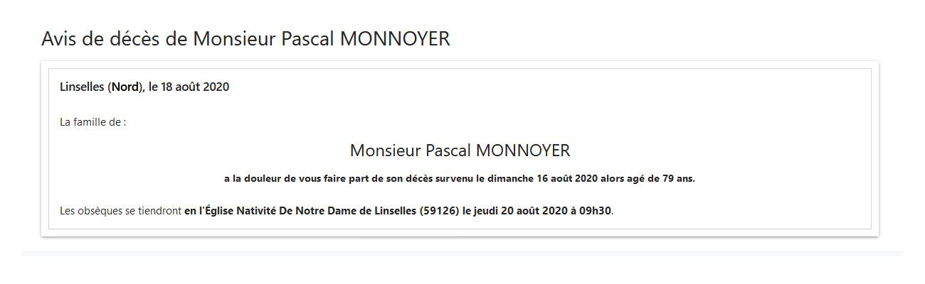 Décès de Pascal MONNOYER de la 43ème promotion