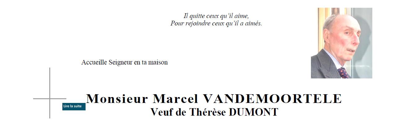 Décès de Marcel VANDEMOORTELE de la 31ème promotion