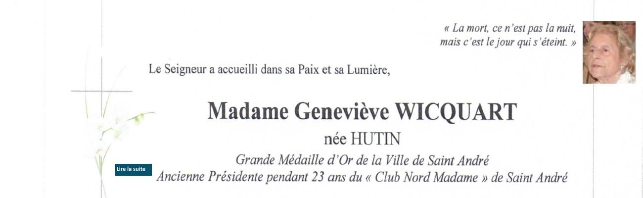 Décès de Geneviève WICQUART, épouse de Daniel de la 31ème promotion.