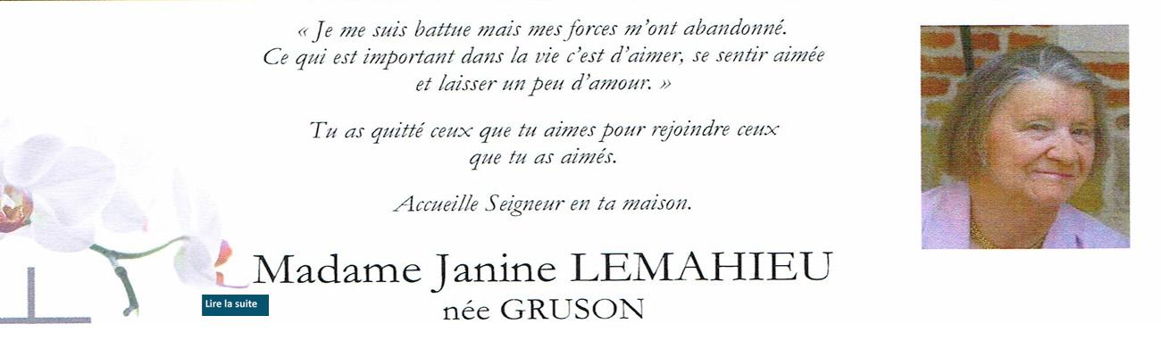 Décès de Janine LEMAHIEU, épouse d'Henri, le 8 juillet 2021.