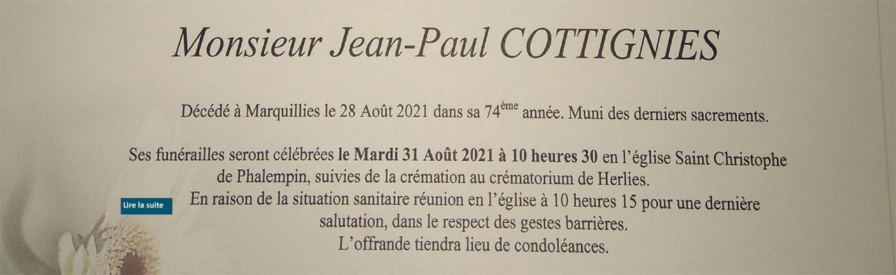 Décès de Jean-Paul COTTIGNIES de la 49 ème promotion